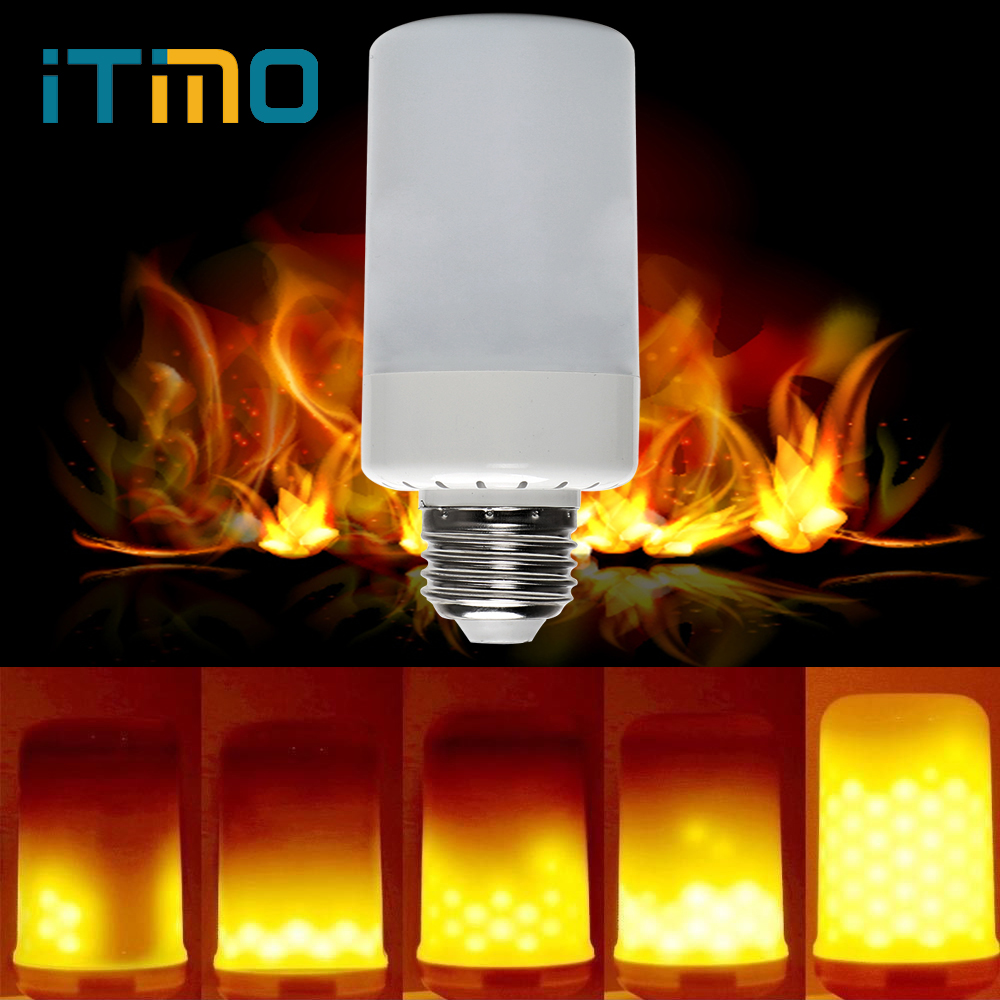 iTimo E27 Flame Lamp Flickering Fire Burning LED Bulb Corn Lamp Vintage Emulation Light Replacement Holiday Lighting Lampada