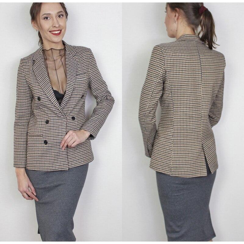 Affogatoo Fashion double breasted plaid blazer women Long sleeve slim OL blazer 18 Casual autumn jacket blazer female 4