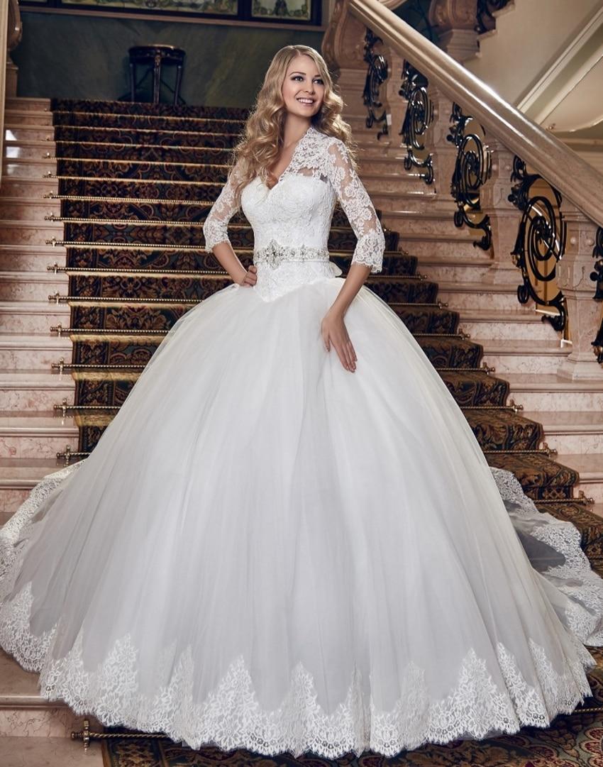 Princess tulle long sleeve lace wedding dresses ball gown for Big tulle ball gown wedding dress