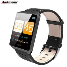 ASKMEER CK19 Smart Watch Leather Strap IP67 Waterproof Bluetooth Pedometer Heart Rate Monitor SmartWatch Android / IOS