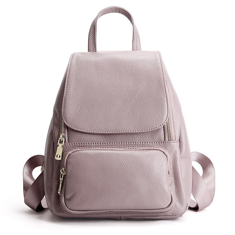 Bagaj ve Çantalar'ten Sırt Çantaları'de Yeni hakiki deri kadın çanta üst katman deri Litchi desen kapak sırt çantası okul çantası'da  Grup 1