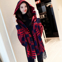 2017 New Autumn Winter Fashion Women Knitted Bat Sleeve Plaid Fringed Hooded Cloak Sweater Ladies Knit