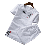 Summer embroidery Two piece set Asia size S 6XL Chinese style t shirt and shorts Cotton and linen fabric mens suits