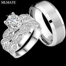 Оның / Hers Infinity Couple Rings Әйелдер Cubic Zirconia Mens Stainless Steel Мерейтойлық Promise Bridal Engagement Rings жиынтығы