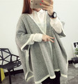 Fat fat  XL loose Maternity striped cardigan sweater coat cloak shawls large plus