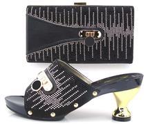 Afrikanische Schuhe Und Taschen zu entsprechen set hohe qualität damen passende schuh-und tasche italien TH16-19 schwarz Italienische Schuhe taschen