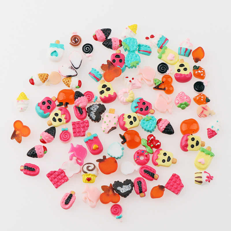 Cute Mini 30 Pcs Resin Fruit Dessert Cake 3D Flatback Rhinestone For DIY Nail Art Decoration DIY Decoration