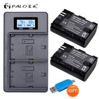 PALO 2pc LP E6 LP E6N LP E6 Battery Cell+LCD USB Dual Charger for Canon EOS 6D 7D 5D Mark II III IV 5D 60D 60Da 70D 80D 5DS 5DSR