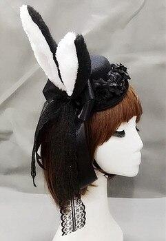 Lolita Women Plush Fluffy Bunny Rabbit Ears Mini Top Hat Costume Rose Flower Lace Accessory Halloween Dress Up   1