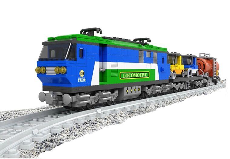 Model building kits compatible with lego city train rail 011 3D blocks Educational model building toys hobbies for children