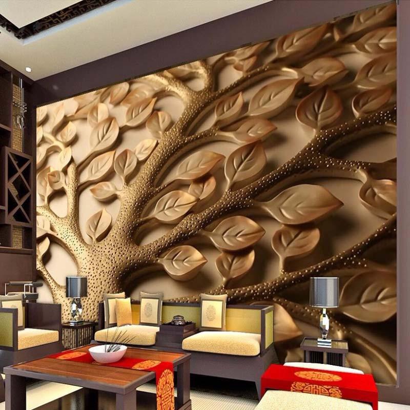 Custom 3D Mural Wallpaper Modern Abstract Relief Leaves Wall Painting Living Room Bedroom Art Mural Wallpaper Papel De Parede 3D