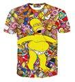[Эми] новый Hrajuku 3d мультфильм пьяные Симпсоны печати женщины смешные футболки Футболка летом причинная тонкий верхняя одежда размер M-XXL