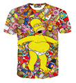 [Amy]  new Hrajuku 3d cartoon drunken Simpsons print women funny t shirts T-shirt summer causal slim top clothing size M-XXL