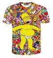 [Amy]  new Hrajuku 3d cartoon drunken Simpsons print women funny t shirts T-shirt summer causal slim top clothing size M-XXL
