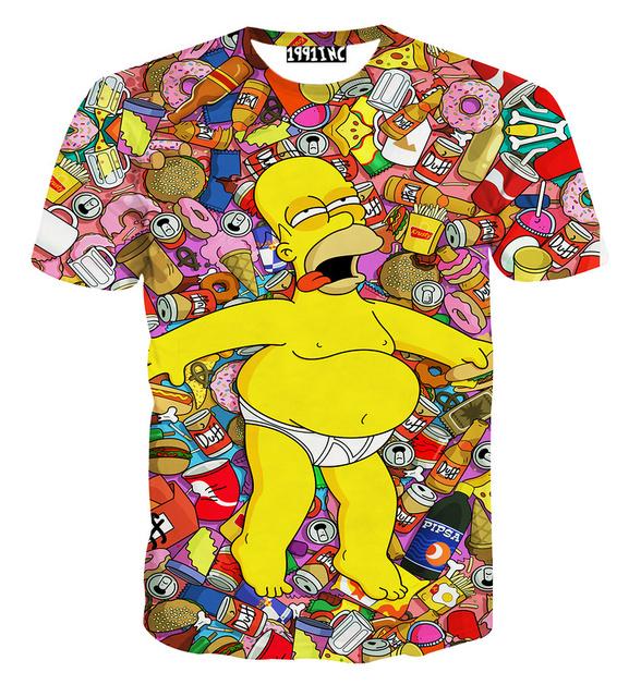 [Amy] novo Hrajuku bêbado Simpsons dos desenhos animados 3d imprimir mulheres camisas engraçadas de t T-shirt verão causal fino top roupas tamanho M-XXL