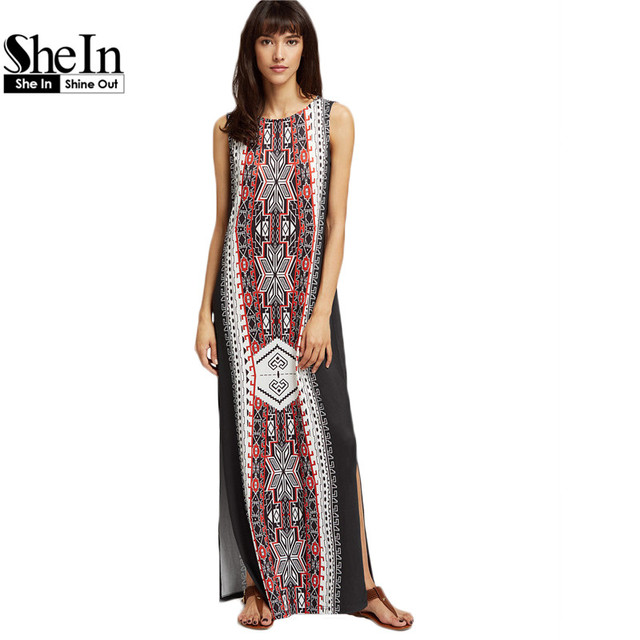 SheIn Bohemian Dress Ethnic Print Side Slit Maxi Dress Summer Womens Multicolor Tribal Print Sleeveless Maxi Dresses