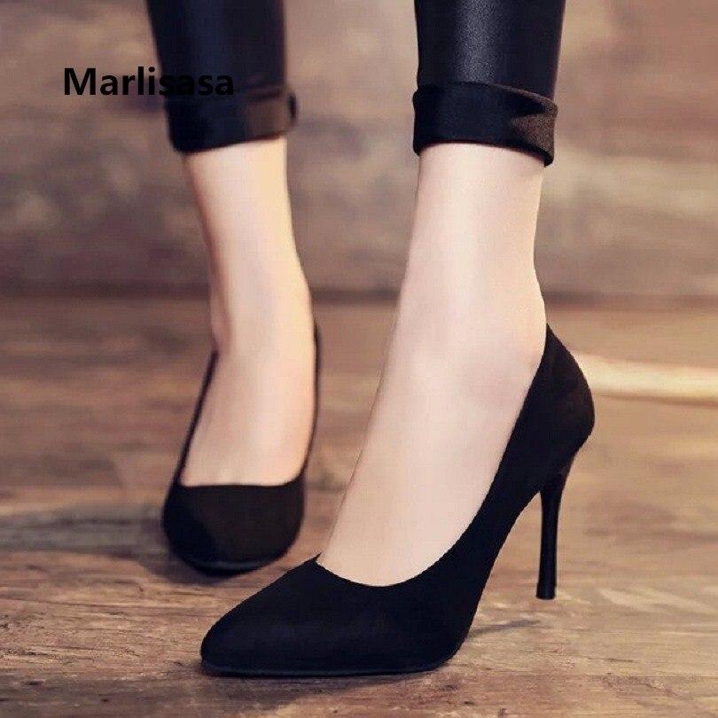 Marlisasa Femmes mignon haute qualité doux bureau à Talons Hauts pompes dame mode pompes classique noir chaussures Femmes Talons Hauts F273
