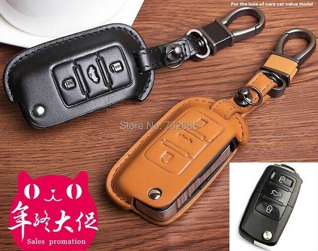 2015 100% Натуральная Кожа Ключа Автомобиля Дело/Ключевые держатель Для VW Skoda Tiguan sagitar Lavida Бора Passat Polo Ключ Оболочки 3 кнопки