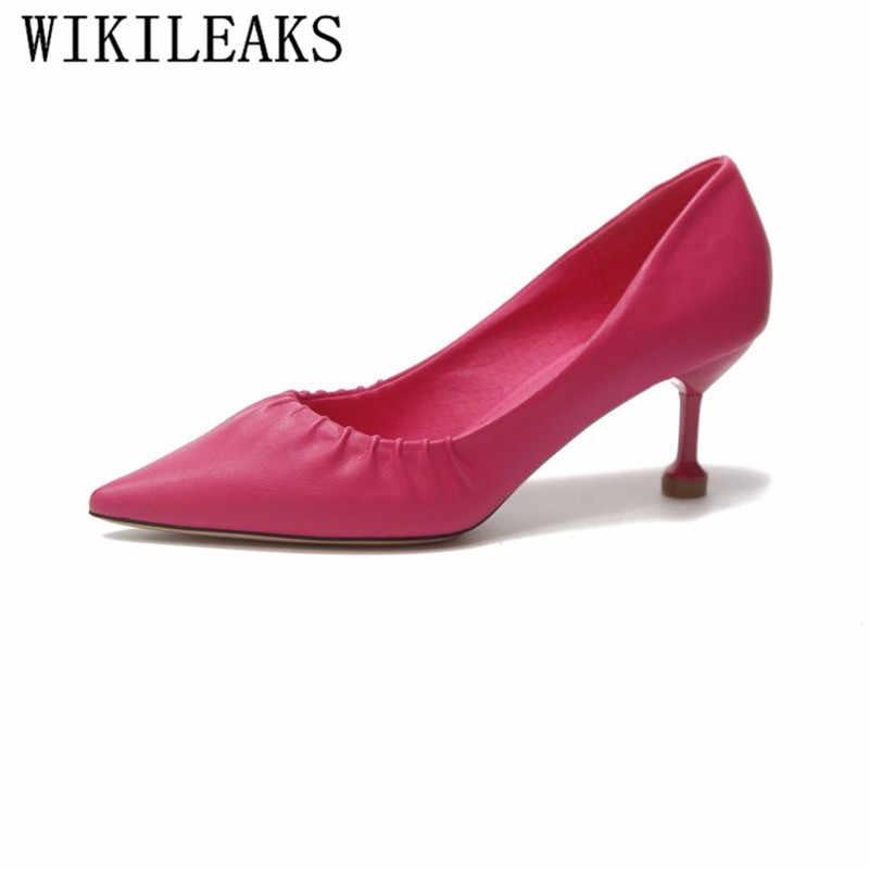 3f8ea352842561 Pleated Women Sexy Party Wedding Shoes Pointed Toe Stiletto High Heel Women  Pumps Ladies Kitten Heel