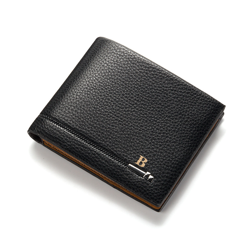 Fashion PU Leather Men Wallets Litchi Pattern Embossing Metal Quality 3 Folds Photo ID Credit Card Holder Purses Wallet Carteira high quality 40mm metal reels crystal retractable id bus card badge holder reel 3pcs lot with metal clip
