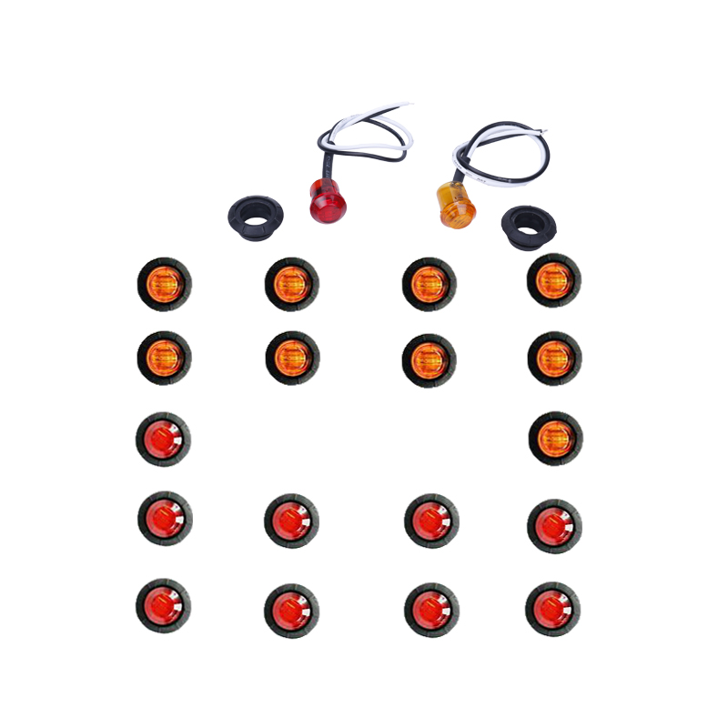hlxg car camion trailer truck led marker lamp right left side indicatoer light amber red 3/4 inch  12v round lights 20pcs(China)