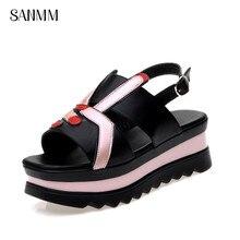 SANMM Women Flat Platform Back Strap Sandals Ladies Summer Non-Slip Cartoon Woman Peep Toe Casual Shoes AZ132