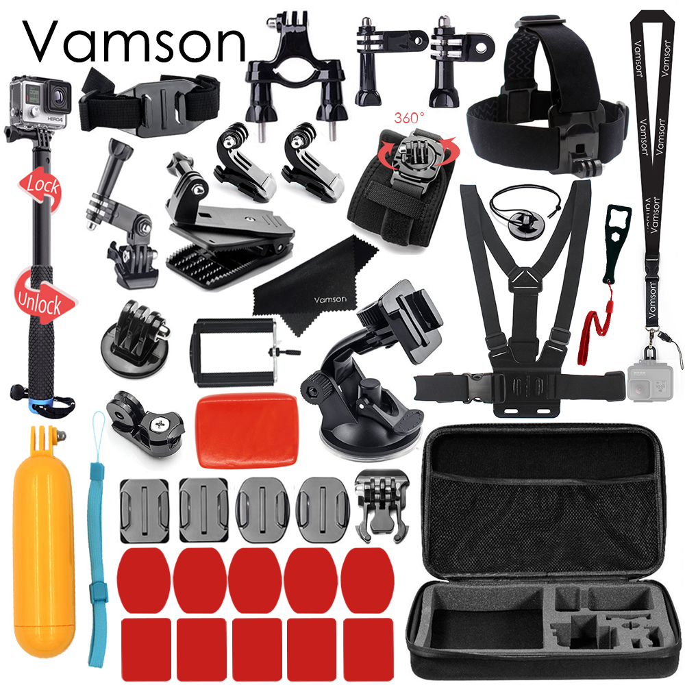 Vamson for Gopro Hero 5 Accessories Set For Gopro Hero 5 black hero 6 4 3+ session for xiaomi for SJCAM Accessories VS79 набор аксессуаров для gopro hero от vamson vs19 с поплавком ремнями и штативами