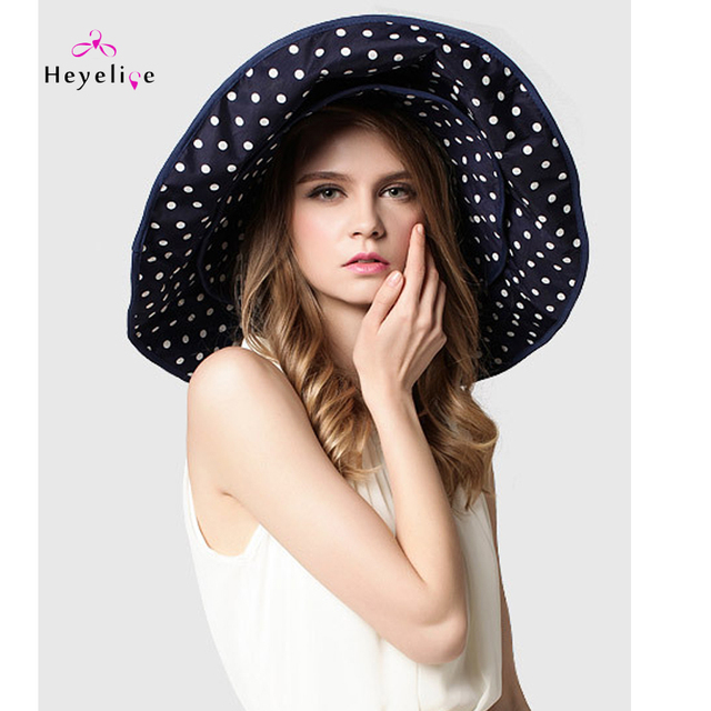 Vintage Summer Sun Hats Oversized Dot Big Brim Beach Caps High Quality Anti UV  Ladies Summer Outdoor Sun Hats 6518983c098