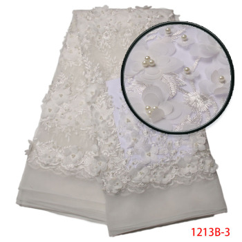 2019 French Lace Fabric White Wedding High Quality African Tulle Lace Fabric 5Yard 3D Flowers Embroidered Lace Fabric PGC1213B-2
