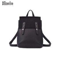 DIINOVIVO New Women S Backpacks Brand Design Fashion Black High Quality Leather Backpacks Travel For School