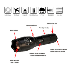 Newest USB Flashlight 8000 Lumens X900 Flashlight LED CREE