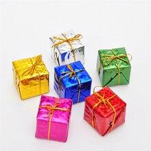 6Pcs Christmas Tree Pendant Drop Gift Box Fill Foam Ornaments Xmas Decor Dress Up Pendant Square Hom