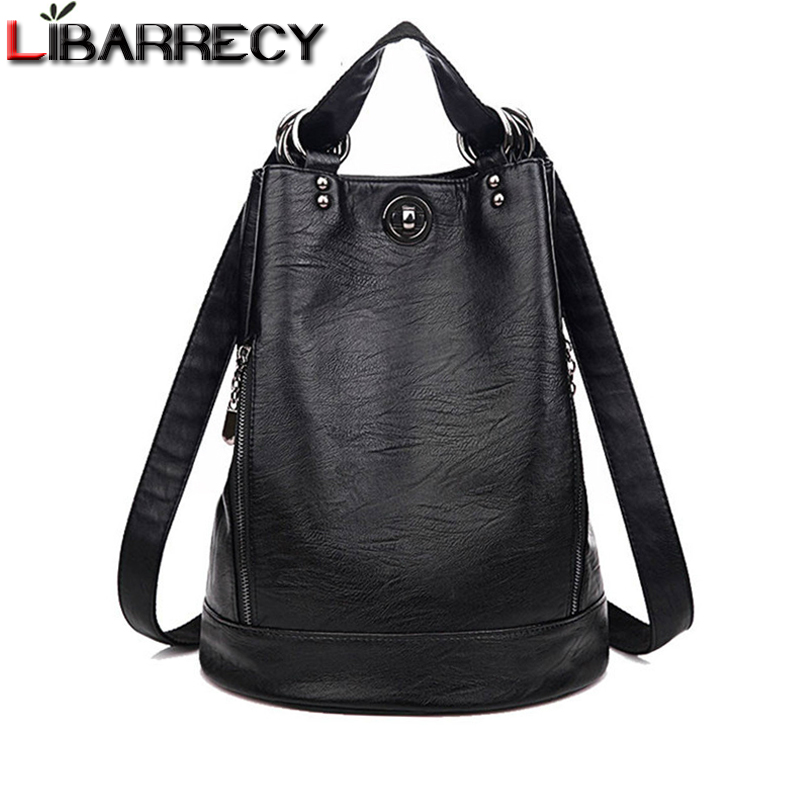 Anti-theft Backpack Female Brand Leather Women's Backpack Large Capacity Travel Bag Simple Black Shoulder Bags For Women 2018