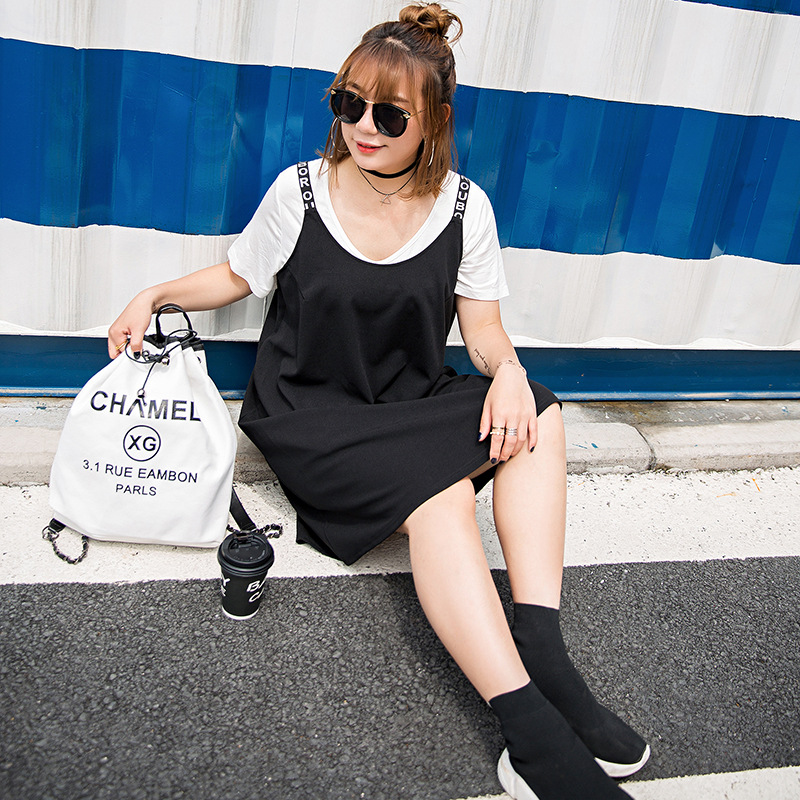 Super large women's wear, summer show thin, cover the belly, new fashion letters, braces, suspenders, vests, dresses 396