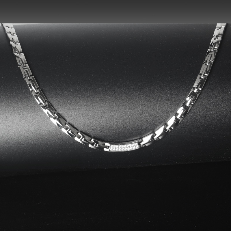 Fashionable European and American Stainless Steel Necklace for Men and Women Rose Gold Health Care Zircon Germanium Necklace in Chain Necklaces from Jewelry Accessories