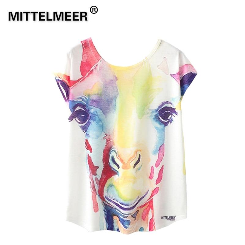 MITTELMEER Spring Summer kawaii t Shirt Girls Student Women Harajuku Short Sleeve Cartoon giraffe printing T-Shirts Tee