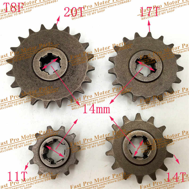 T8F 11 14 17 20 T Tand Koppeling Versnellingsbak Front Pinion Sprocket voor 47cc 49cc 2 Takt ATV Quad Dirt Pocket Mini Motor Bike