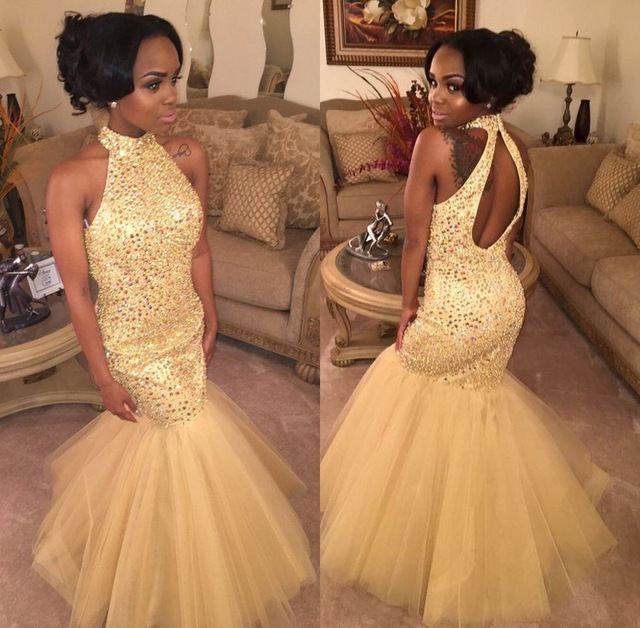 African Gold Mermaid   Prom     Dresses   2019 robe de bal Beading Crystal Imported Party   Dress   Black Women Girls Formal Evening Gowns