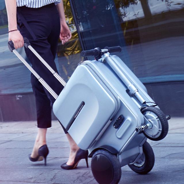 Electric Riding Trolley Travel Suitcase.Luxurious Intelligent Carry on Robot Luggage.High-capacity smart valise boarding bag ride it as a Bike or Pull it