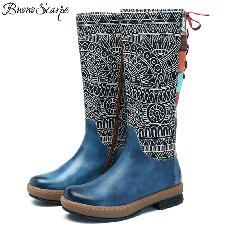 BuonoScarpe Women Vintage Mid calf Boots Bohemian Retro Genuine Leather Shoes Printed Patchwork Zipper Lace Up