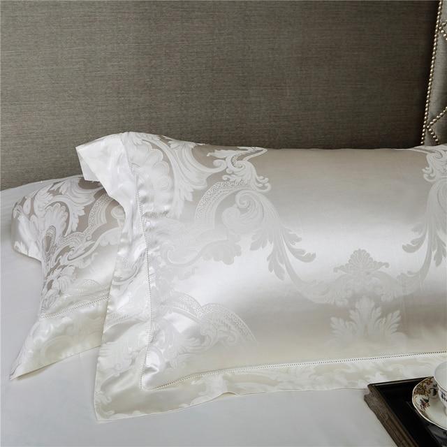 HS Luxury Mulberry Silk 4pcs Bedding Sets European Style Jacquard Satin King Size Bedding Set Duvet Cover Flat Sheet Pillowcase