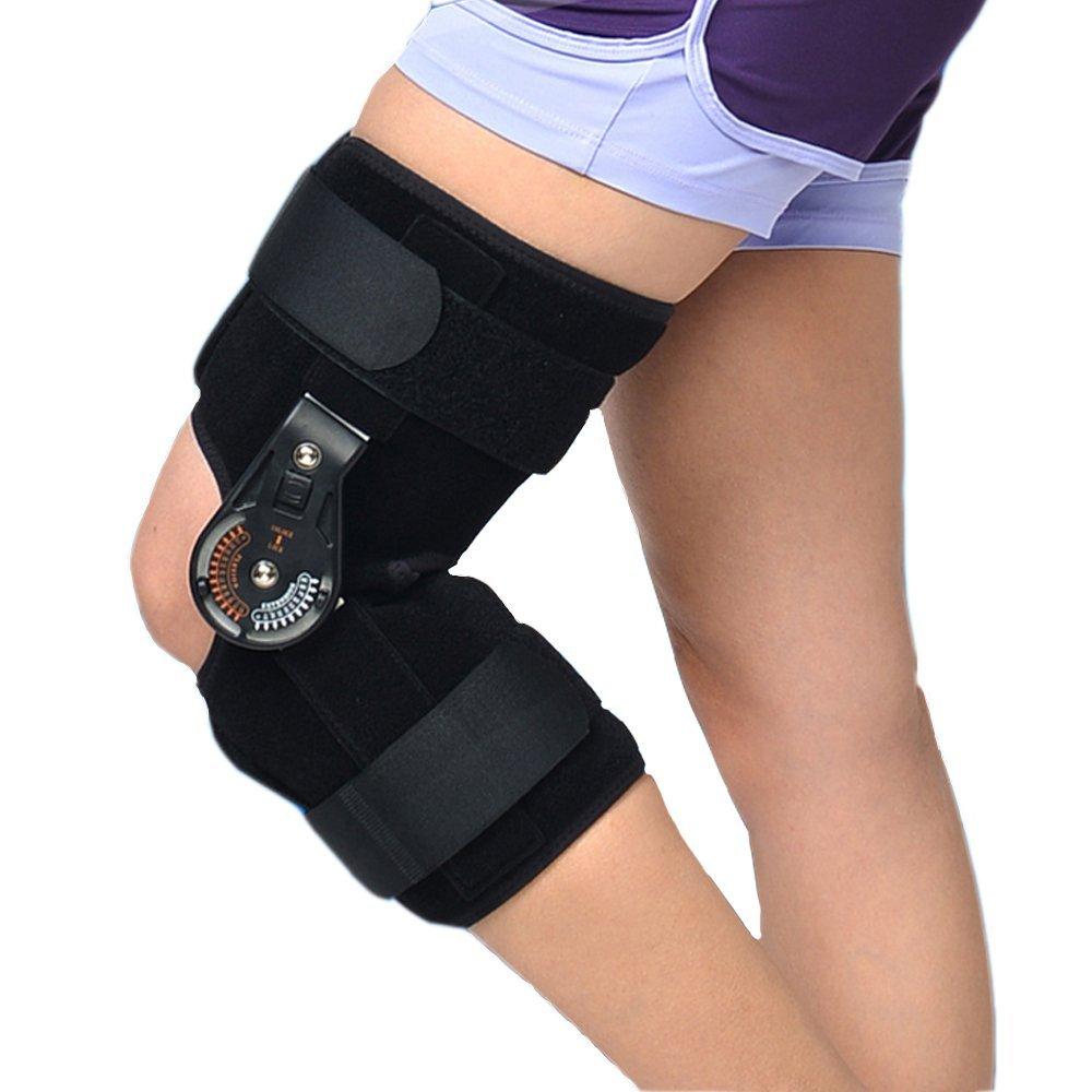 Adjustable Medical Hinged Knee Orthosis Brace Support Ligament Sport Injury Orthopedic Splint Osteoarthritis Knee Pain Pads OBER medical orthopedic hinged knee brace support adjustable splint stabilizer wrap sprain hemiplegia flexion extension