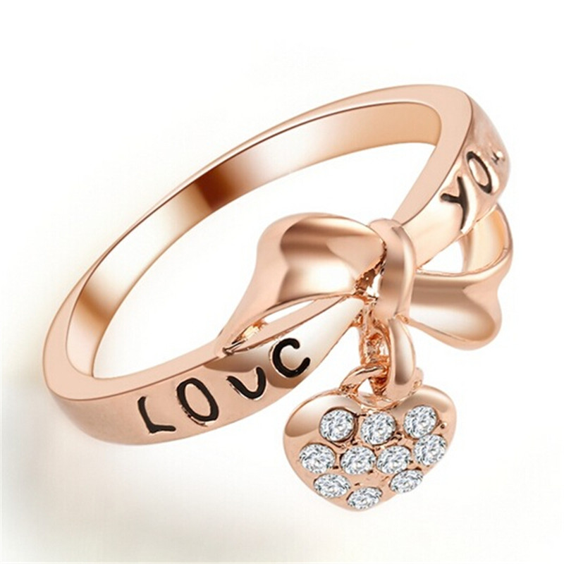 Tempo Perfect FD4548 new Rose Bow Heart Love You Ring Crystal Rhinestone Ring Gift
