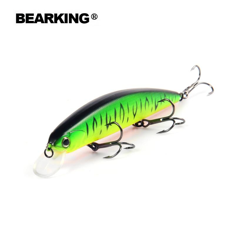 Bearking Un + 2017 chaude modèle de pêche leurres dur appât 10 couleur pour choisir 13 cm 21g minnow, qualité professionnel minnow depth1.8m
