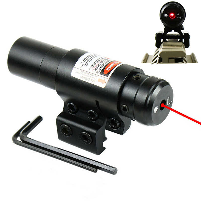 Red Laser Sight met 20mm/11mm Rail Mount Jacht Airsoftsport Pistool Slot Laser Sight Huntting Tactical Optics gereedschap QZ0130