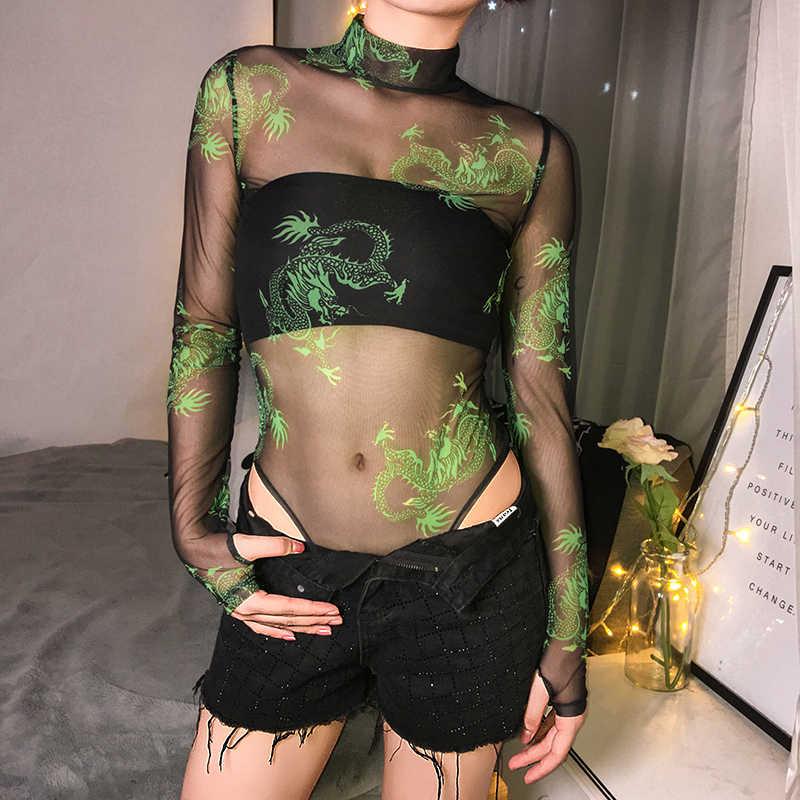 Sweetown شفافة مثير شبكة ارتداءها جديد وصول 2019 طويلة الأكمام التنين طباعة الجسم موهير السروال القصير إمرأة بذلة الصيف