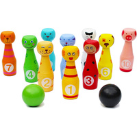 Children'S Wooden Games Wooden Toys Parent Child Games Wooden Nine Column Game Set with Animal Faces and Numbers Cute Animal S