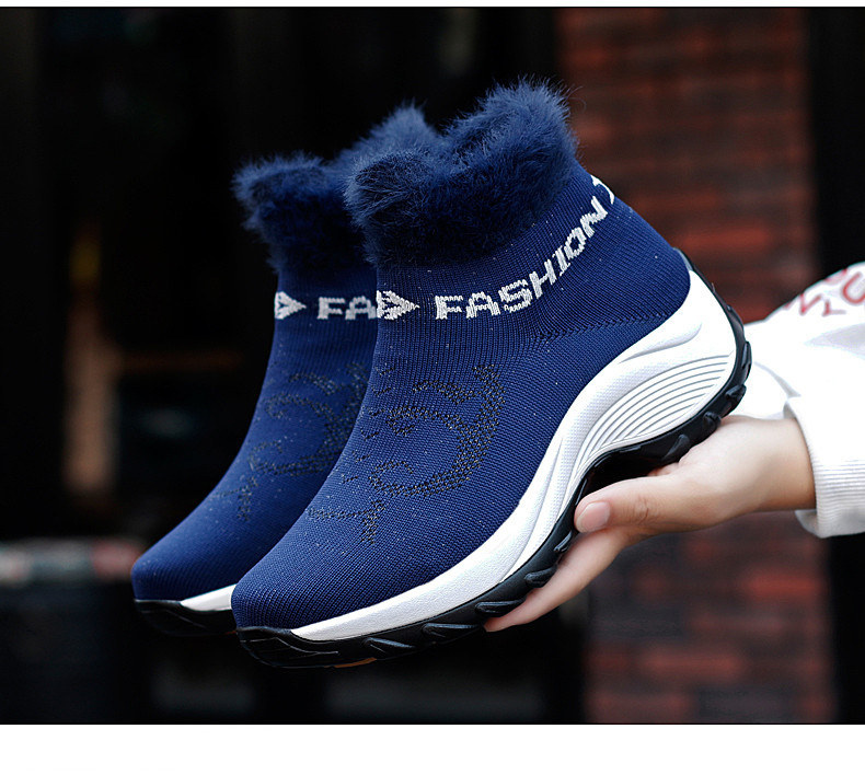 STS BRAND 2019 New Winter Ankle Boots Women Snow Boots Warm Plush Platform Sneakers Breathable Mesh Sneakers Travel Casual Shoes (24)