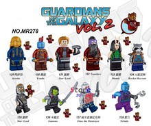 Satu Pahlawan Super Marvel Guardians Of The Galaxy Vol 2 Roket Yondu Bangunan Blok Mainan untuk Anak-anak Kit Brinquedos(China)
