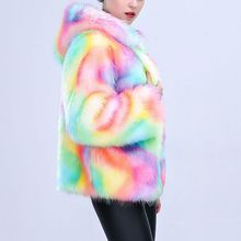 2017 Inverno Nova Moda Das Mulheres Casaco de Pele Falso Luxo Rainbow Cores Cosplay Natal Prom Casacos de Capuz Parka Coats Outwear